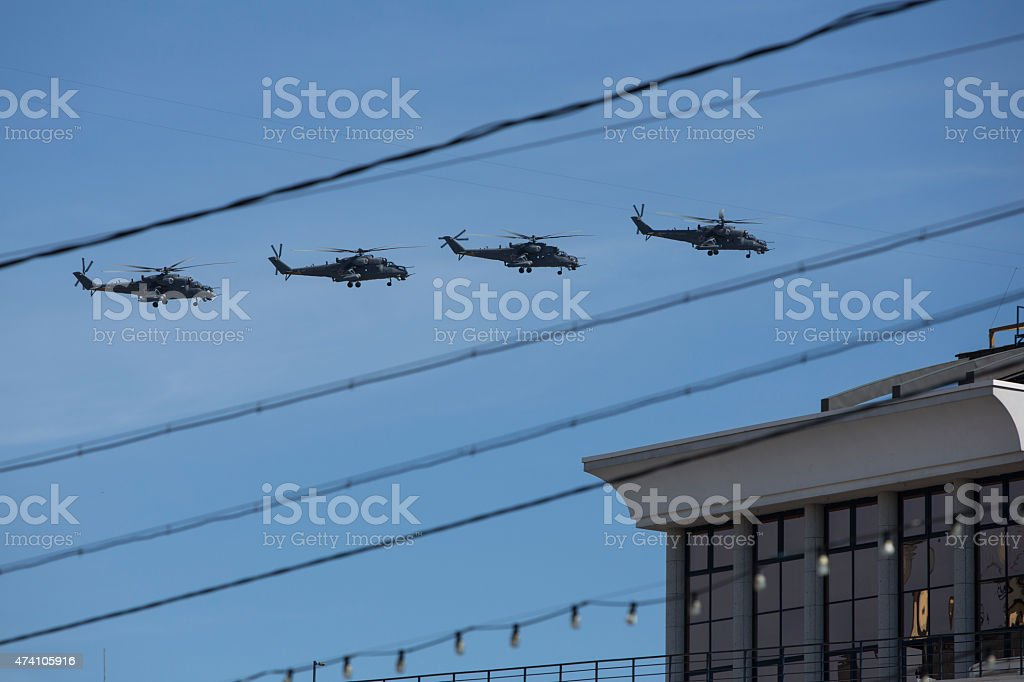 Russian military helicopters stock photo