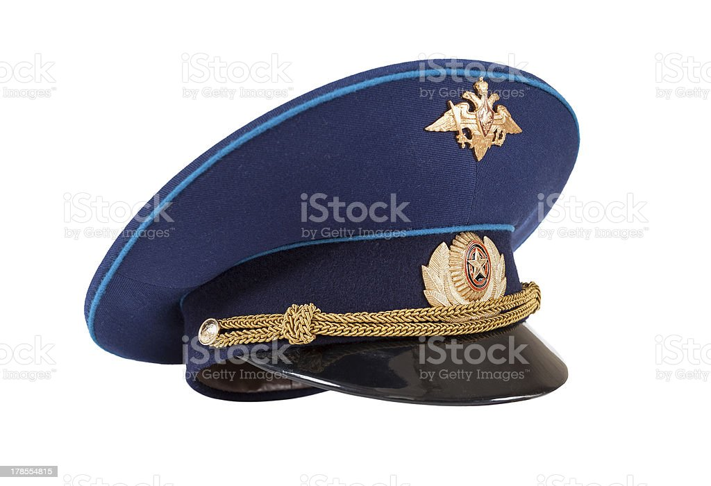 Russian military officer cap (Air Force) isolated on white royalty-free stock photo