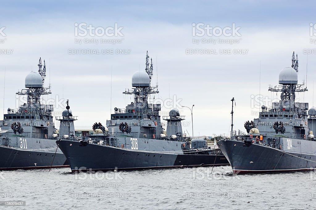 Russian military ships stock photo