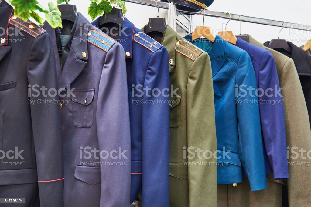 Russian military uniform on hanger in store stock photo