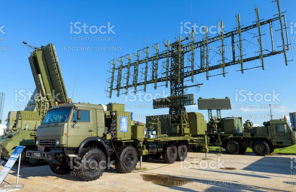 Russian mobile radar stations at MAKS-2017 stock photo