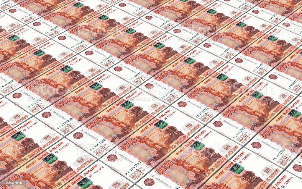 Russian money bills stacks background. stock photo