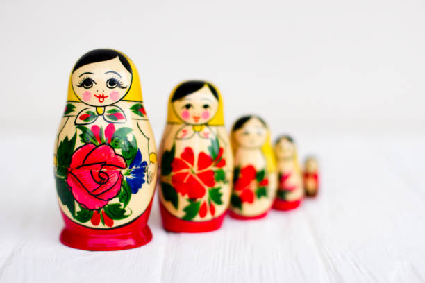 Russian national nesting dolls stock photo