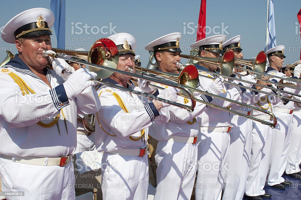 Russian naval orchestra performs royalty-free stock photo