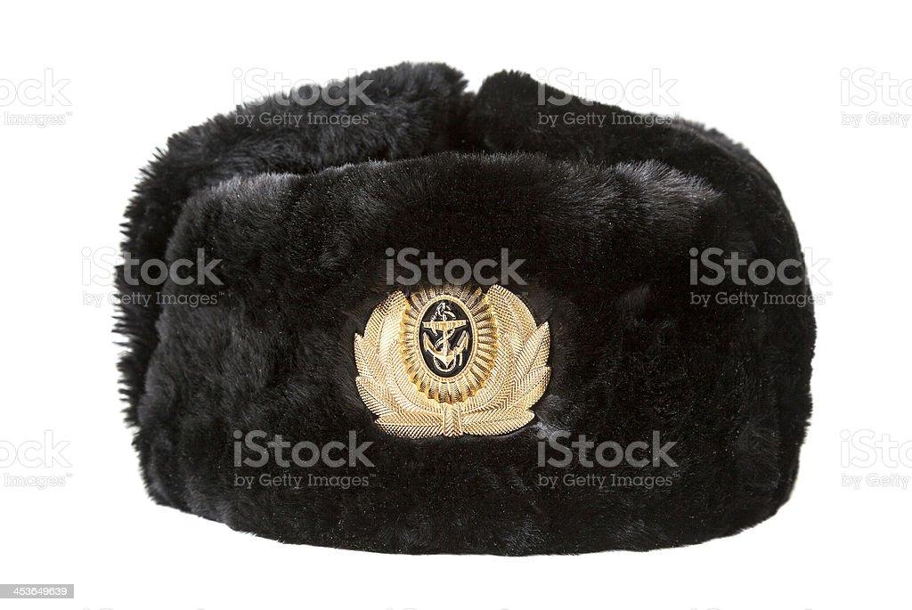 Blu Navy Militare Russo Cappello Invernale Isolato Su Sfondo Bianco