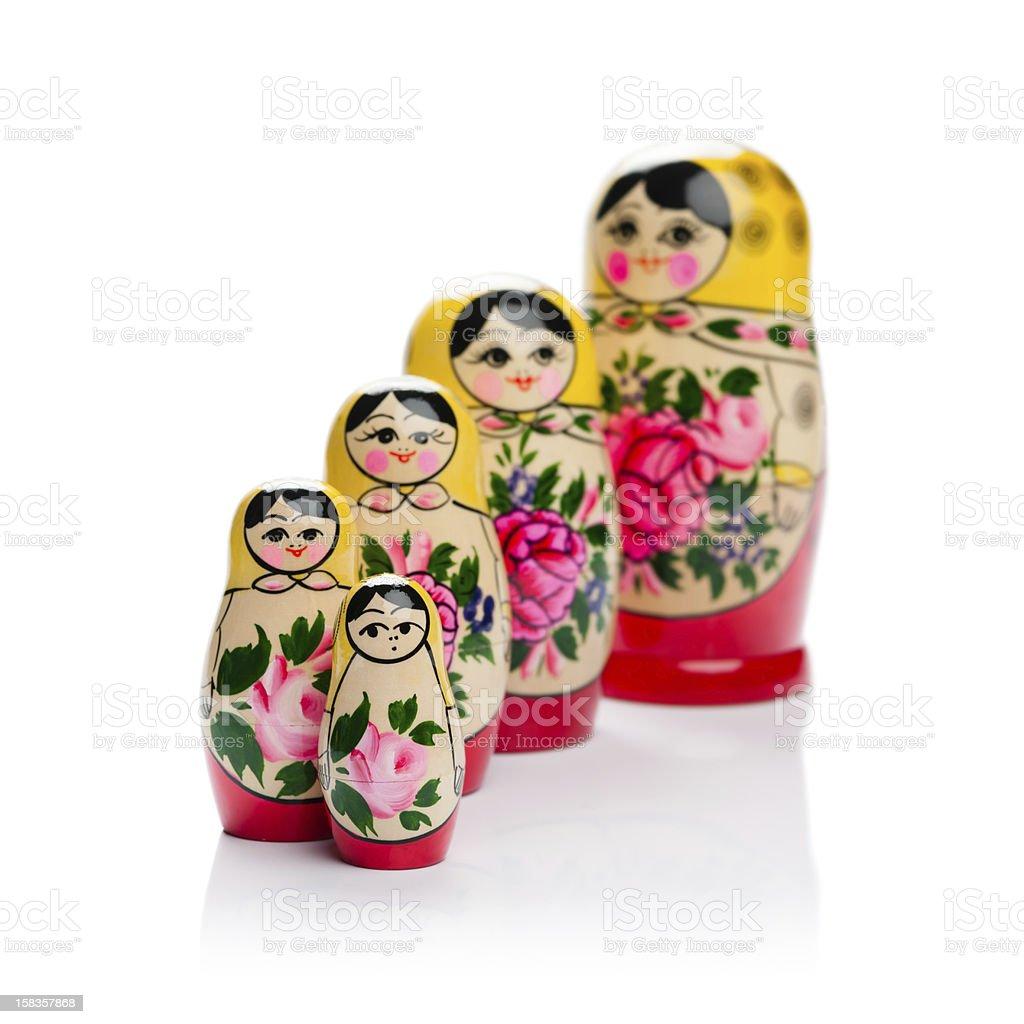 Russian nesting doll family stock photo