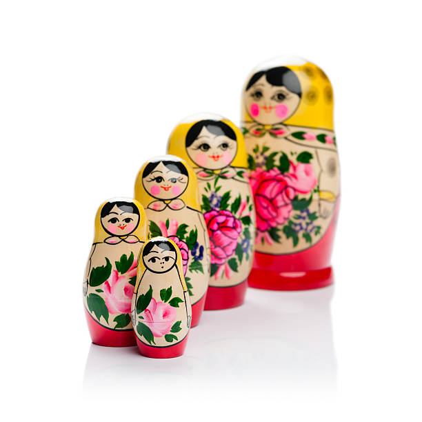 Russian nesting doll family stock photo