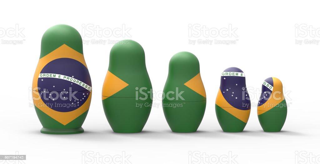 Boneca russa com bandeira do Brasil, renderização em 3d - foto de acervo