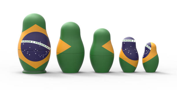Russian nesting doll with Brazil flag, 3d rendering stock photo