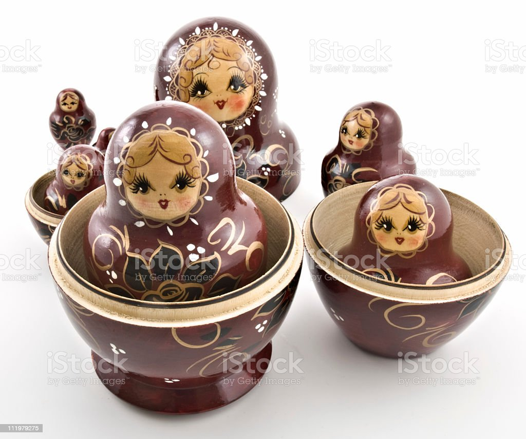 Russian Nesting Dolls also known as Babushkas stock photo