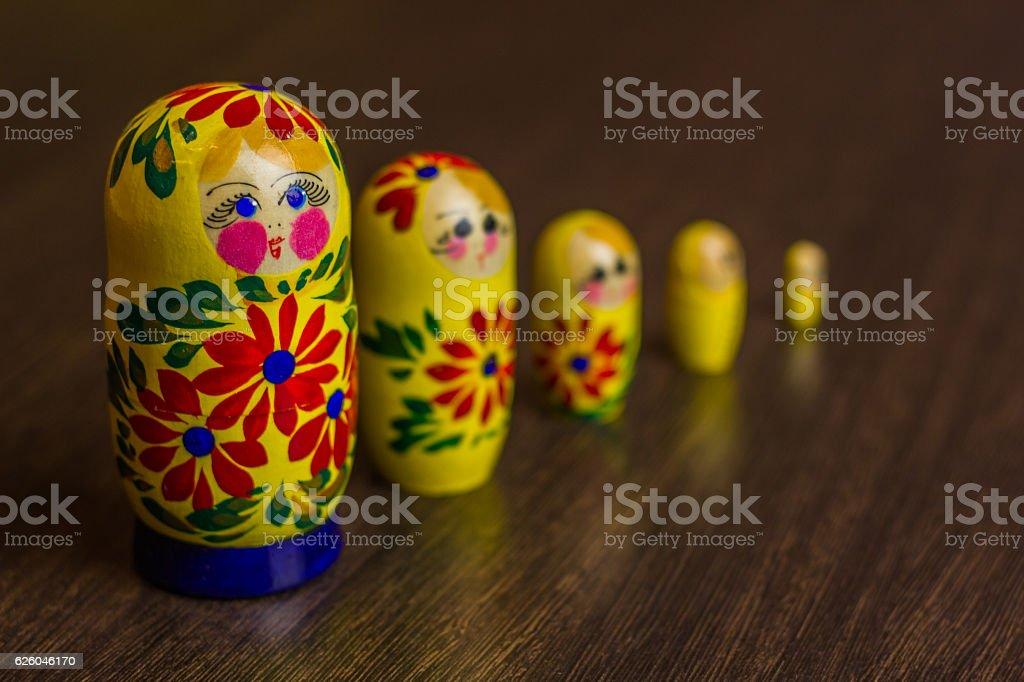 Russian nesting dolls,  babushkas or matryoshkas stock photo