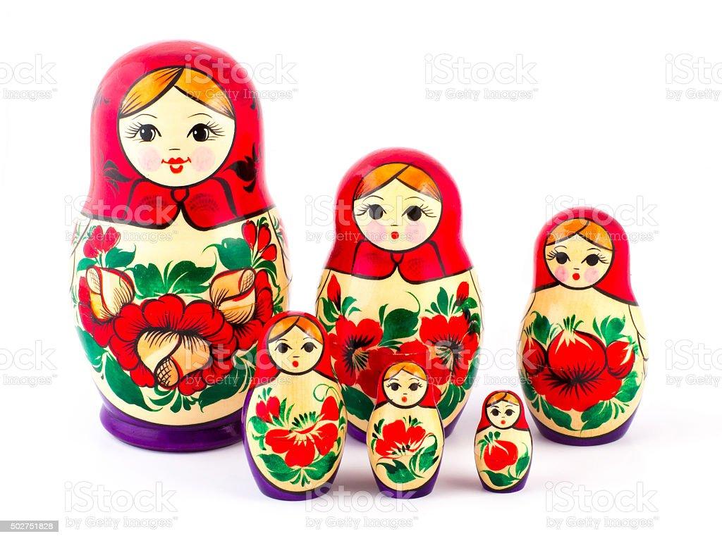 Russian nesting dolls. Babushkas or matryoshkas. Set of 6 pieces stock photo