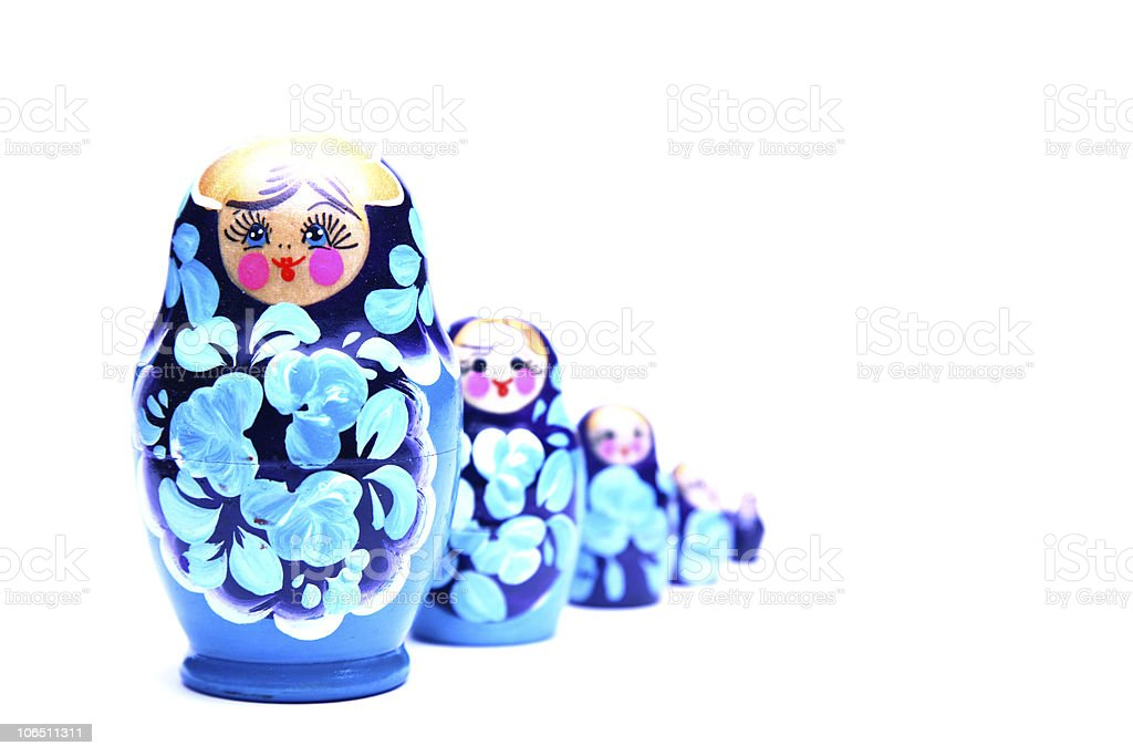russian nesting dolls (babushka) in line royalty-free stock photo