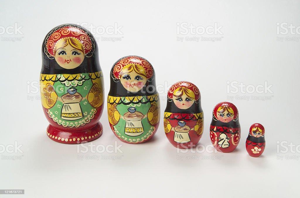 Russian Nesting (Matryoshka) Dolls stock photo