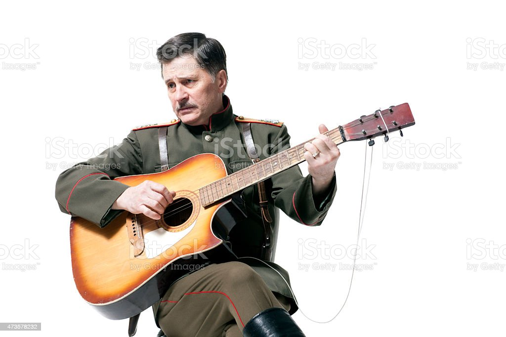 Russian officer with guitar stock photo