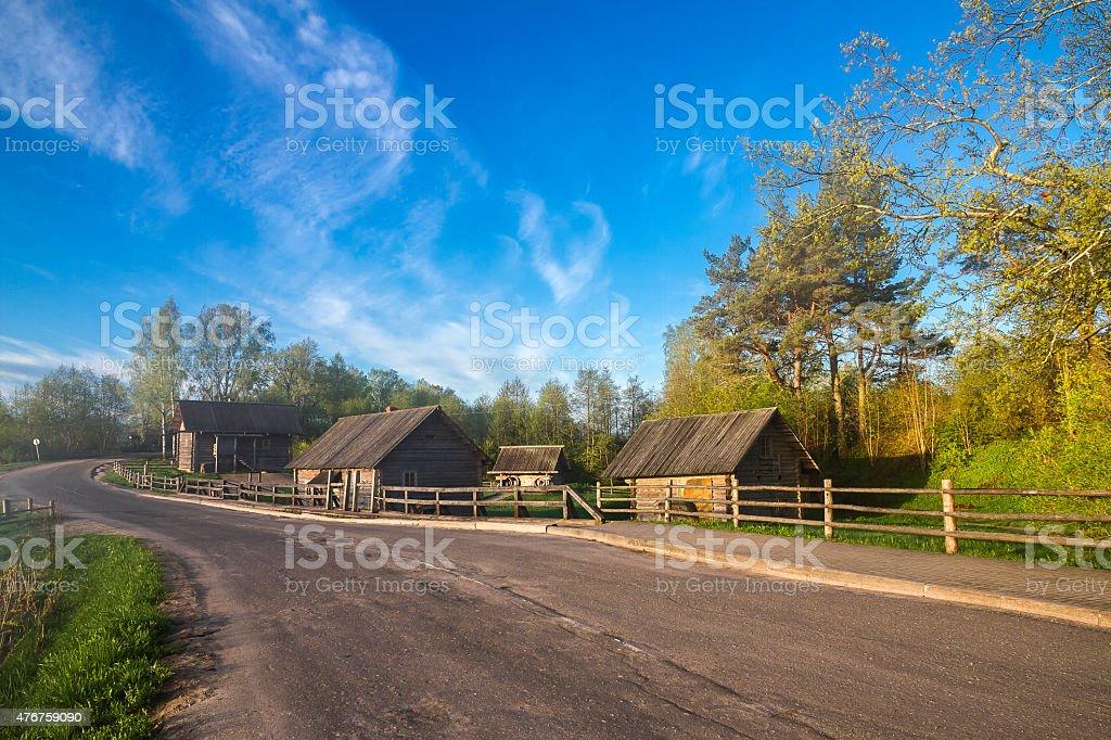 Русская Старый village вдоль road стоковое фото
