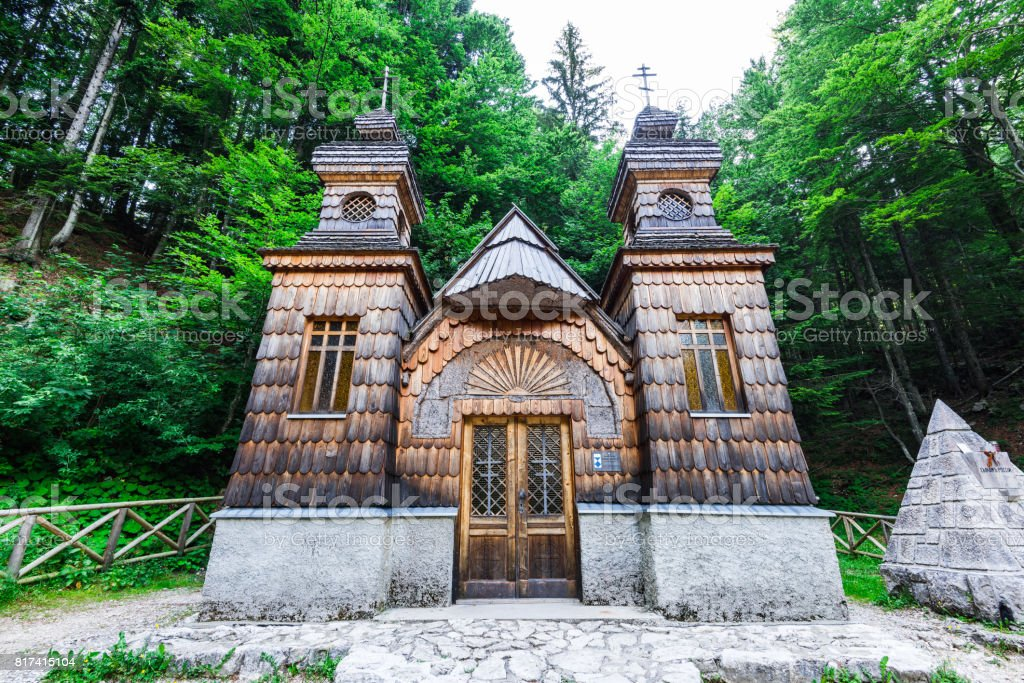 Russian orthodox chapel in Vrsic Pass, Triglav, Slovenia stock photo