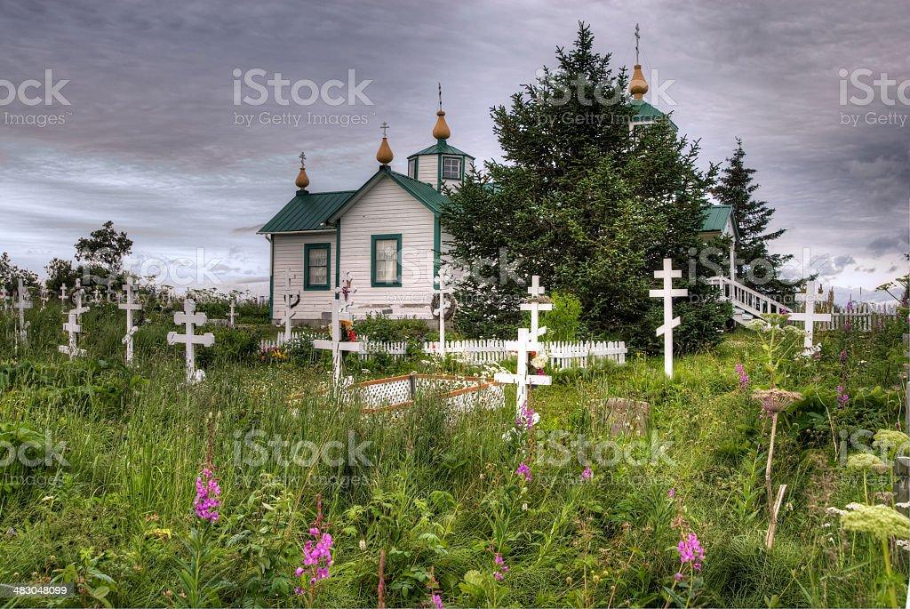 Russian Orthodox Church and graveyard, Alaska stock photo