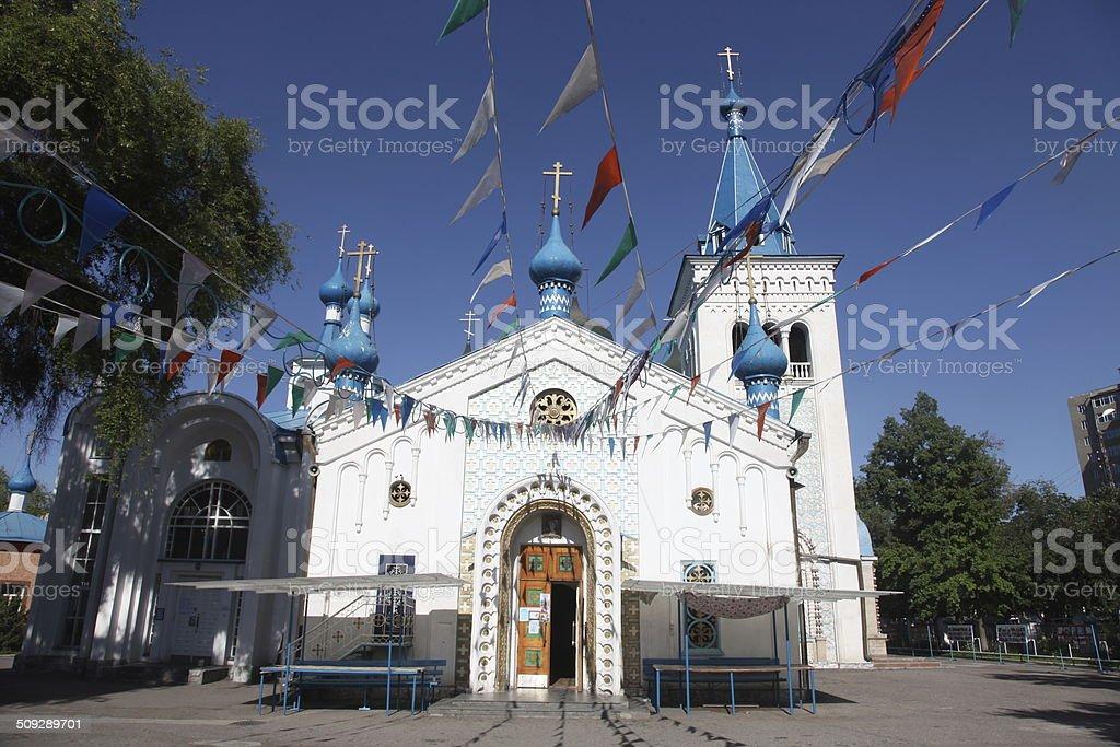 Russian orthodox church in Bishkek stock photo