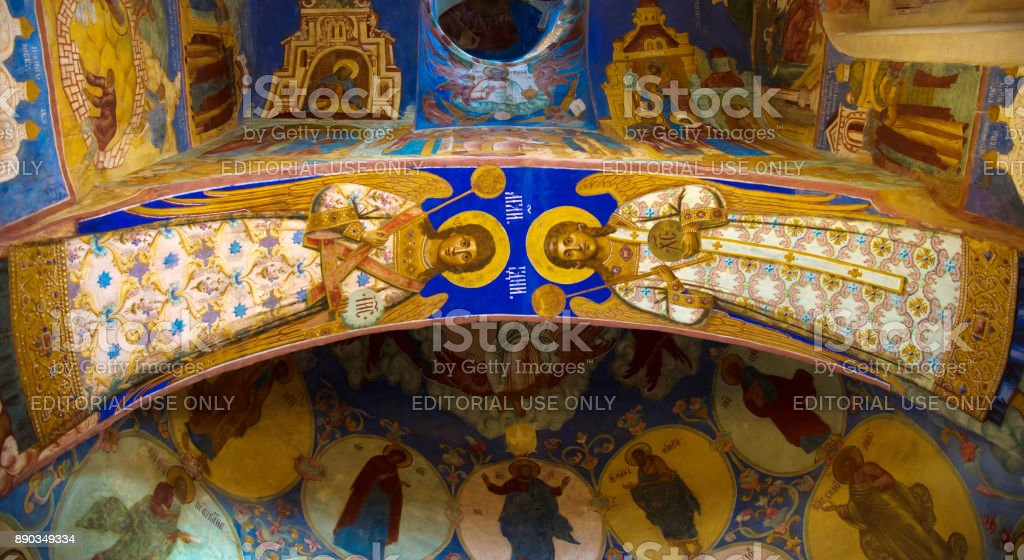 Russian orthodox church inside. Religious frescoes  in Cathedral of Spaso-Efimiev monastery in Suzdal. The Gold Ring of Russia stock photo