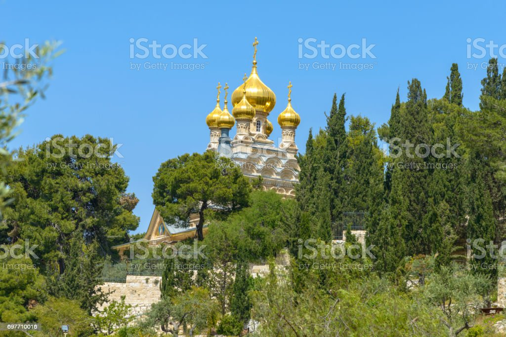 Russian Orthodox Church of Mary Magdalen in Jerusalem stock photo