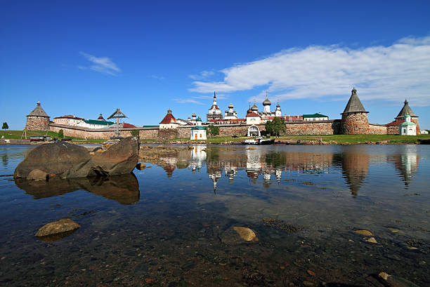 Russian Orthodox Monastery, Russia Russian Orthodox Solovetsky Monastery in Solovetsky Islands, Russia republic of karelia russia stock pictures, royalty-free photos & images