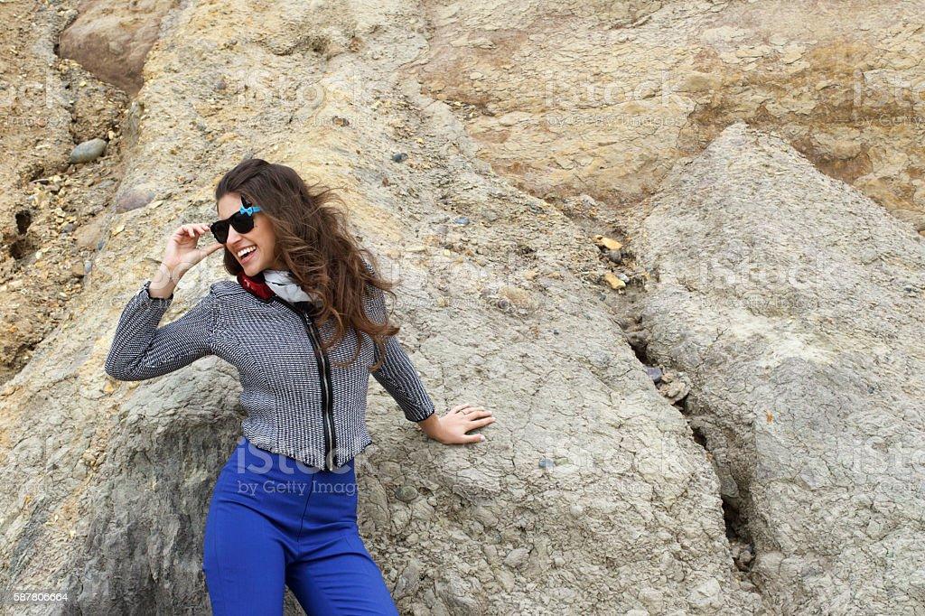 Russian outdoor girl at Hengistbury Head Dorset cliff background stock photo