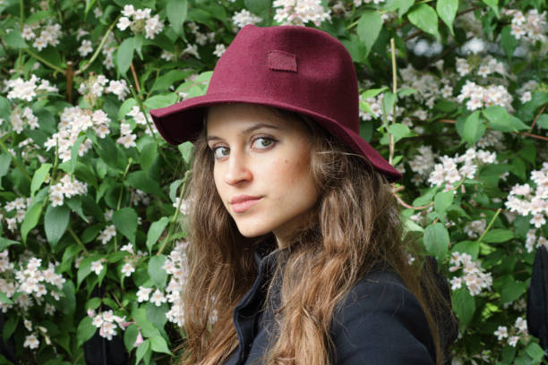 russian outdoor girl felt hat fashion head and shoulders - whiteway english outdoor girl stock photos and pictures