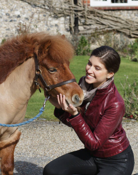 russian outdoor girl squatting beside tiny shetland pony - whiteway pony stock photos and pictures