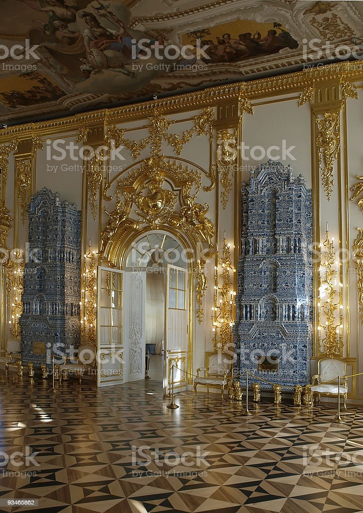 Russian Palace Furnace In The Interior Stock Photo