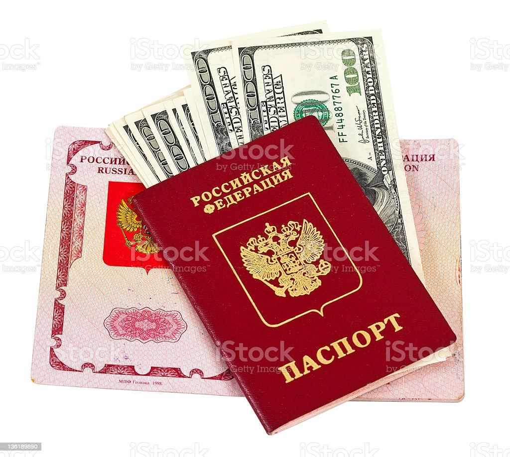 Russian passport and US dollars isolated on white background royalty-free stock photo