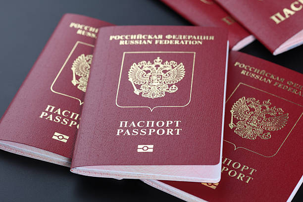 Russian passports stock photo