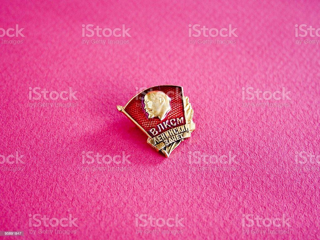 Russian pin with profile Lenin.  Adulation Stock Photo