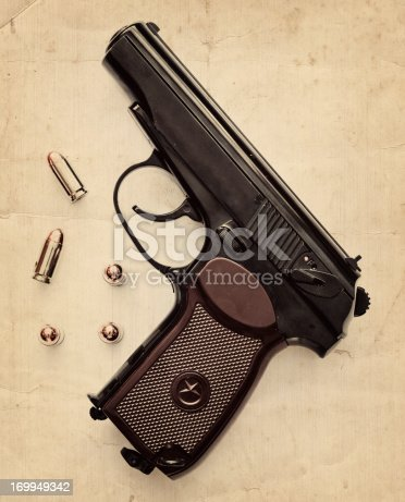 russian semi-automatic pistol with its bullet composite with grunge textures
