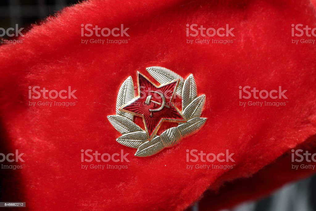 Russian red winter hat stock photo