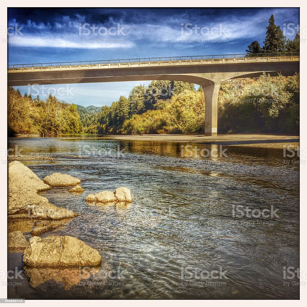 Russian River: Bridge with river running under it stock photo