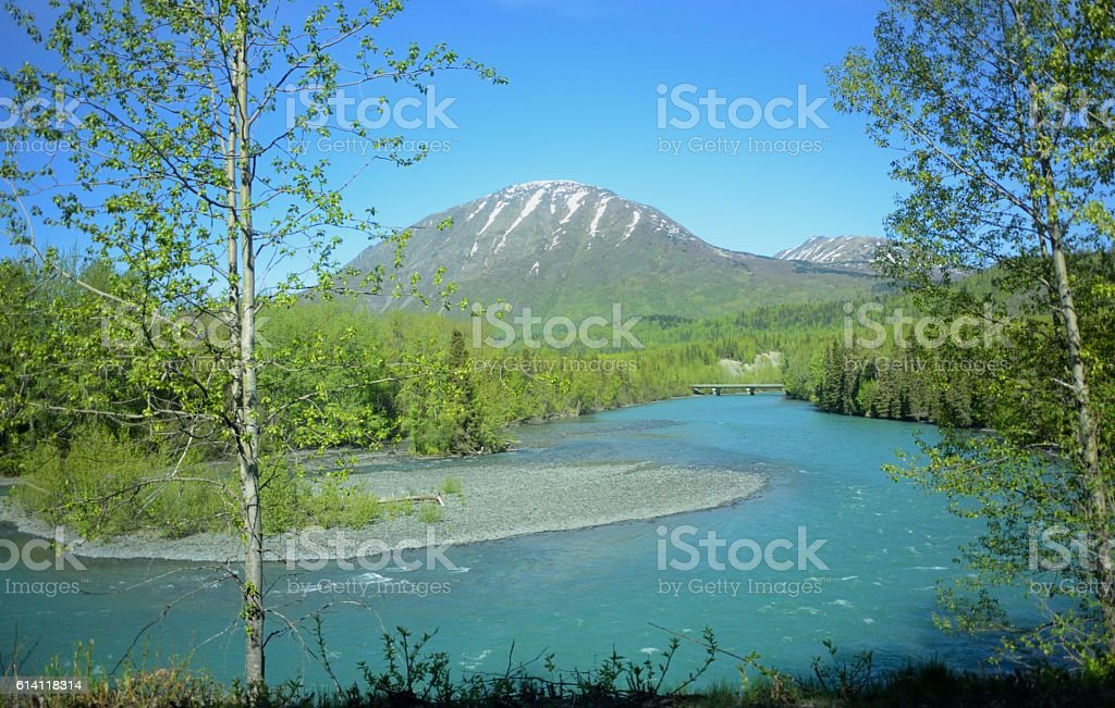 Russian river meandering through Alaska stock photo