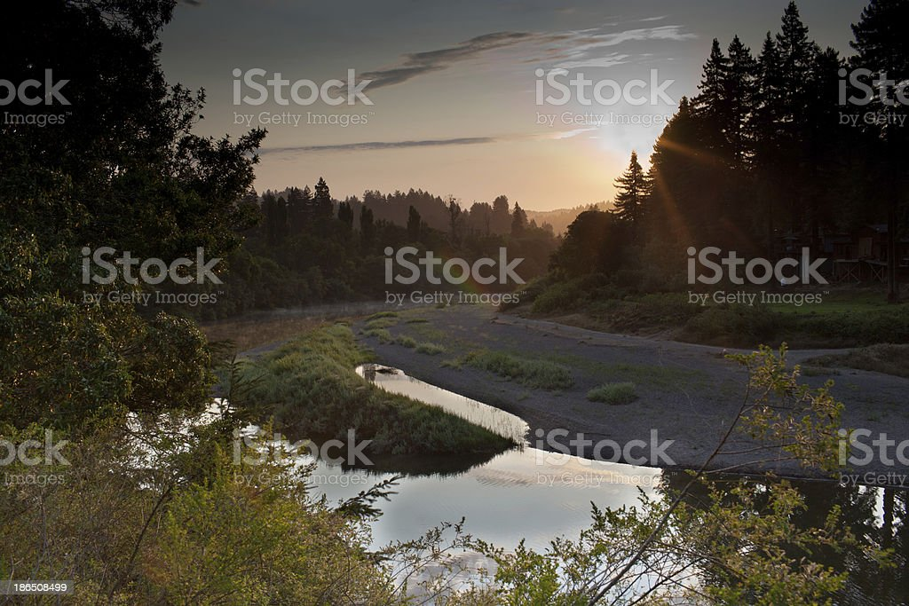 Russian river, sunrise stock photo