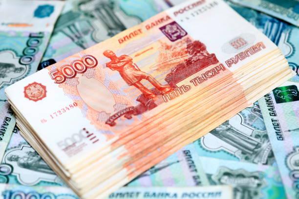 러시아 루블 지폐 클로즈업 사진. 돈의 스택 - 러시아 루블 뉴스 사진 이미지