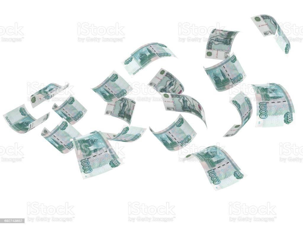 Concepto dinero vuelo de Rusia rublo - foto de stock