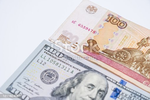 istock Russian rubles rub and american dollars usd exchange rate concept 1211624061