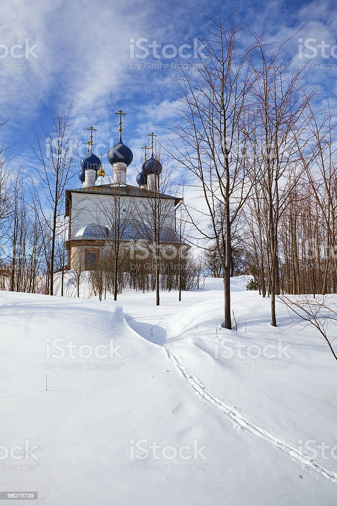Russian Rural Church in Winter royalty-free stock photo