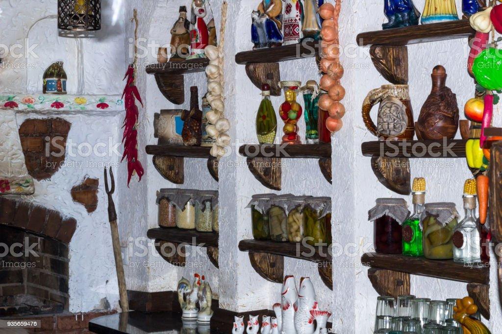 Cocina De País Rural Ruso Con Accesorios De Decoración Interior De ...