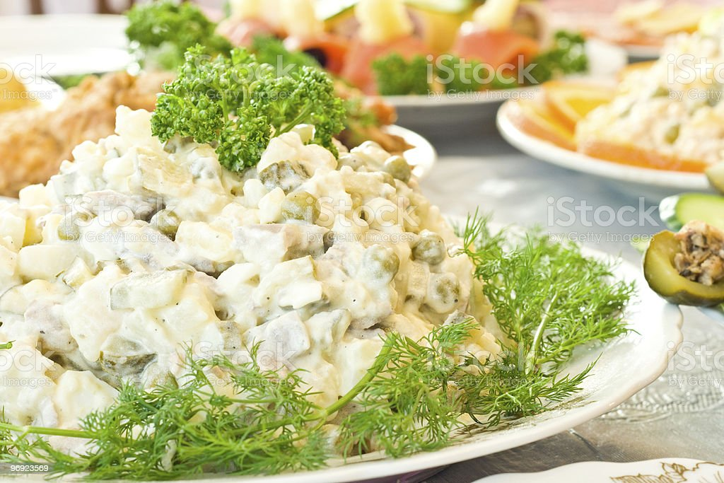 Russian salad - Banquet in the restaurant royalty-free stock photo
