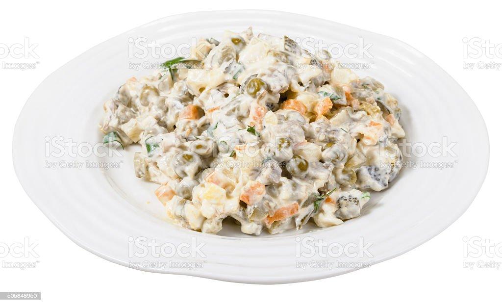 Russischesalat Mit Mayonnaise Auf Platte Isoliert Stock Fotografie