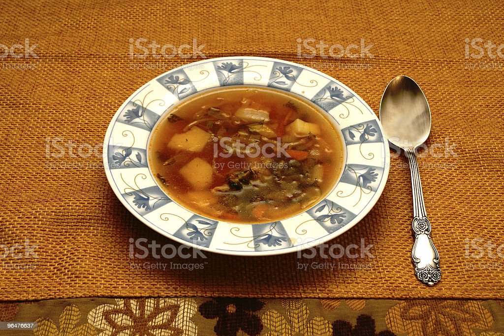 Russian shchi meat soup bowl royalty-free stock photo