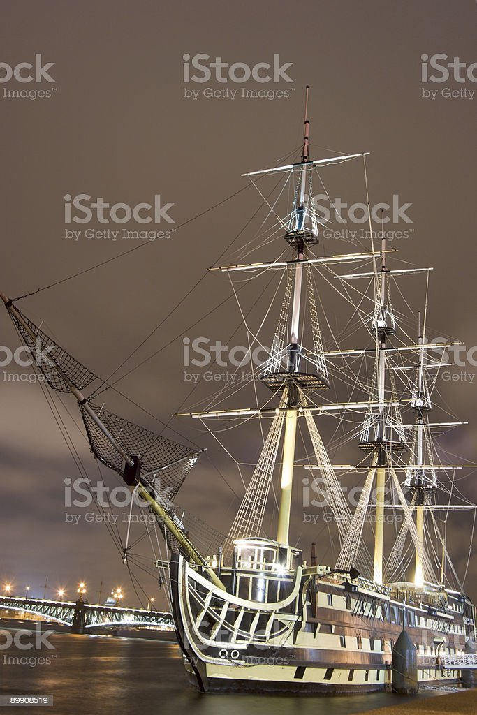 Russian ship in the night royalty-free stock photo