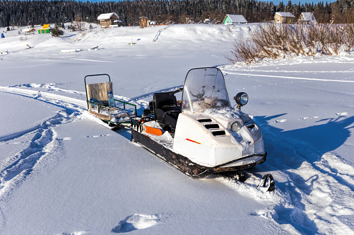 Russian snowmobile and sleigh