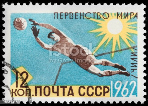 Russian Soccer Goalie Diving Block on 1962 CCCP Postage Stamp. Goalie is only Player on Team Allowed to Touch Ball with his Hands.