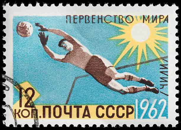 Russian Soccer Goalie Diving Block on 1962 CCCP Postage Stamp stock photo